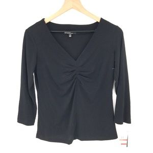 NEW Studio by JPR johnpaulrichard Ruched Pullover Top blouse Black XS women's